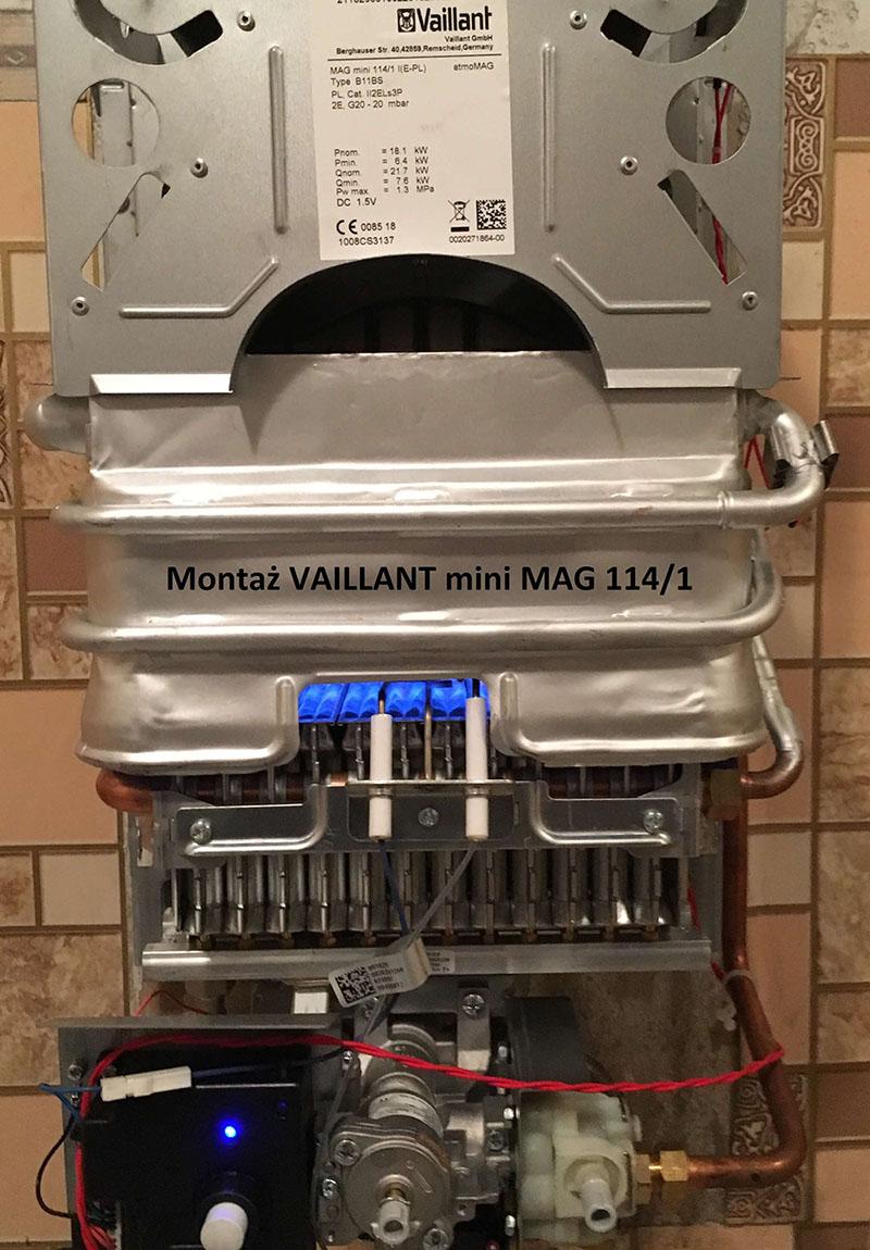 Montaż podgrzewacza gazowego Vaillant mini MAG 114/1