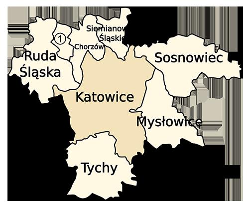 Mapa z kilkoma śląskimi miastami - Ruda Śląska, Chorzów, Siemianowice Śląskie, Sosnowiec, Katowice, Mysłowice, Tychy i Świętochłowice